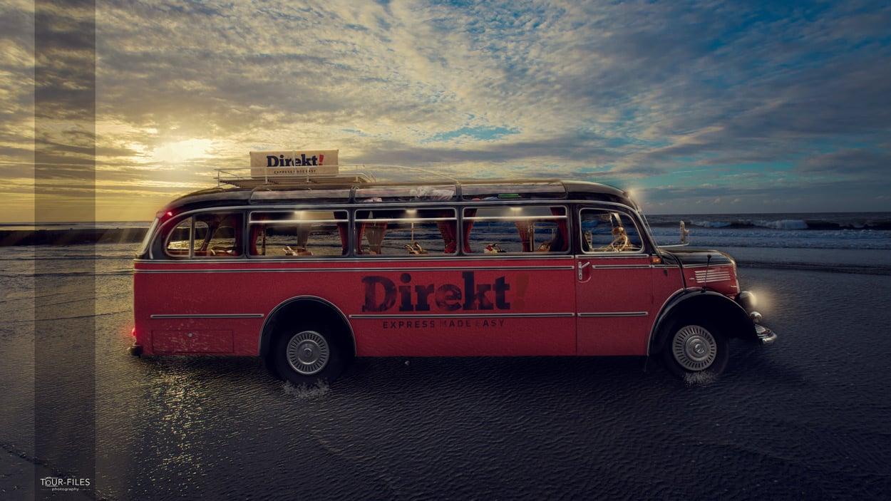 fotomontage oldtimer bus